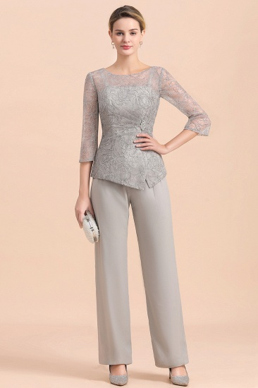 Elegant 3/4 Sleeves Lace Chiffon Affordable Mother of Bride Jumpsuit Online_1