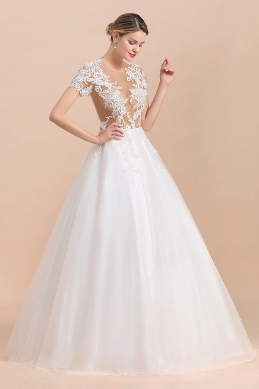 BMbridal Sexy See Through Tulle Appliques Short Sleeves Wedding Dress_4