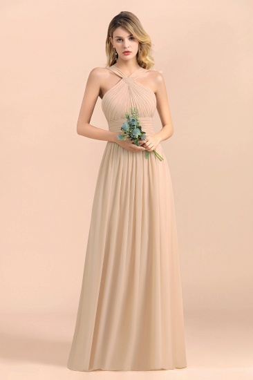 Gorgeous Straps Sleeveless Champagne Chiffon Affordable Bridesmaid Dresses Online with Ruffle_5