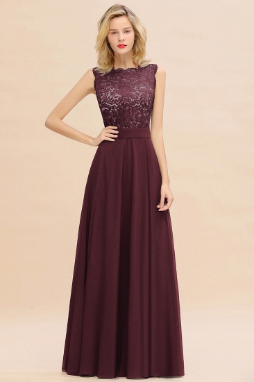 Exquisite Scoop Chiffon Lace Bridesmaid Dresses with V-Back_47