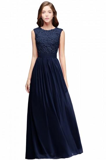BMbridal Elegant Sheath Crew Sleeveless Lace Top Chiffon Bridesmaid Dress_3