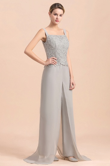 BMbridal Elegant Silver Lace Top Chiffon Mother of Bride Jumpsuit Online with Wrap_9