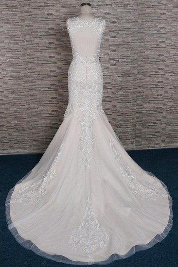 BMbridal Affordable Sleeveless Straps Champagne Wedding Dress Mermaid Lace Bridal Gowns With Appliques On Sale_3