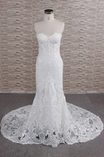 Chic Sweetheart Mermaid Lace Wedding Dresses White Sleeveless Bridal Gowns With Appliques On Sale_1