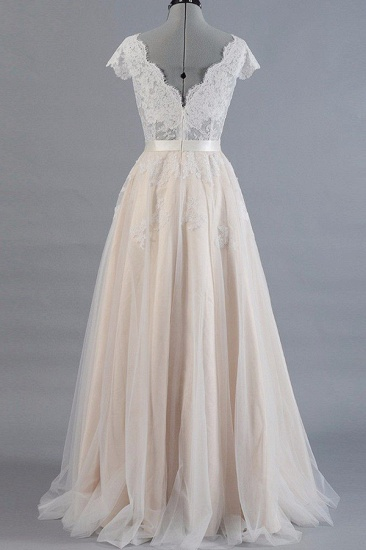 Affordable V-neck Shortsleeves A-line Wedding Dresses Champgne Tulle Lace Bridal Gowns On Sale_3