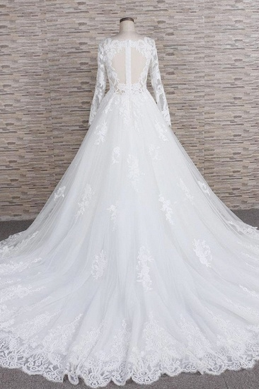 Modest Jewel Longsleeves A-line Wedding Dresses White Tulle Lace Bridal Gowns With Appliques On Sale_3