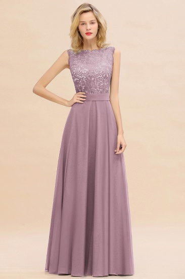 Exquisite Scoop Chiffon Lace Bridesmaid Dresses with V-Back_43