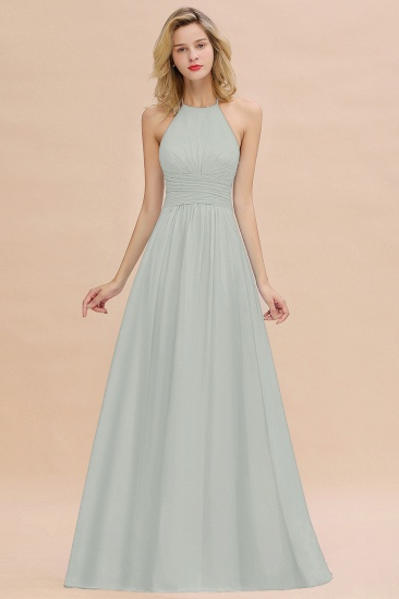 Glamorous Halter Backless Long Affordable Bridesmaid Dresses with Ruffle_38