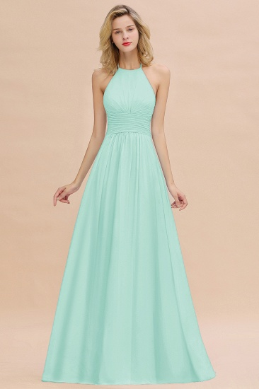 Glamorous Halter Backless Long Affordable Bridesmaid Dresses with Ruffle_36