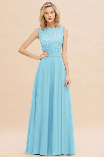 Exquisite Scoop Chiffon Lace Bridesmaid Dresses with V-Back_23