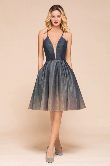 Glittering Halter Short Prom Dress Mini Homecoming Dress With Pocket
