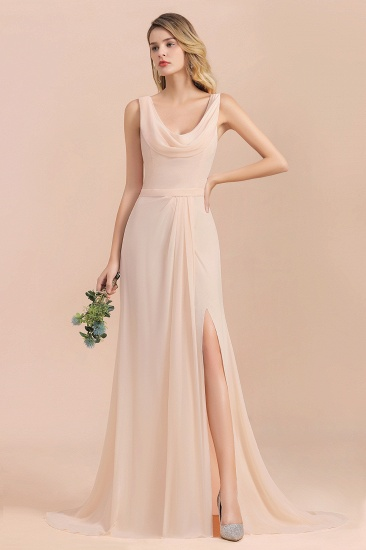 Gorgeous Drapped Neckline Ruffle Chiffon Bridesmaid Dresses Online with Slit
