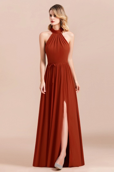 Rust Halter Long Bridesmaid Dresses Online With Front Split_6