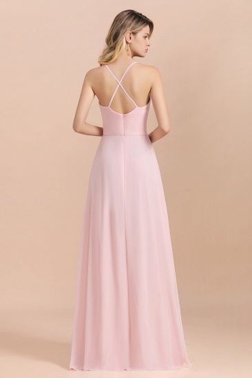 Chic Spaghetti Straps Chiffon Pink Bridesmaid Dresses with Crisscross Back_3