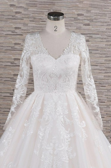 Elegant V-neck Longsleeves Lace Wedding Dresses A-line Tulle Bridal Gowns With Appliques Online_5