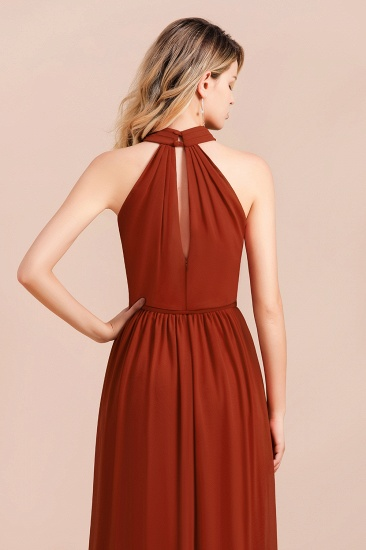Rust Halter Long Bridesmaid Dresses Online With Front Split_9