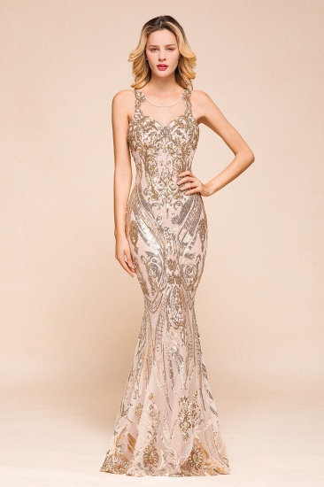 Gorgeous Champagne Sequins Mermaid Prom Dress Long Evening Gowns Online