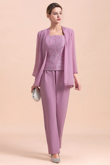Elegant Cap-Sleeves Lace Chiffon Affordable Mother of Bride Jumpsuit Online with Wrap_6