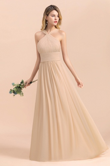 Gorgeous Straps Sleeveless Champagne Chiffon Affordable Bridesmaid Dresses Online with Ruffle_6