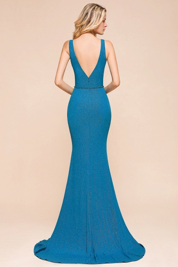 Shinning Blue Mermaid Long Prom Dress V-Neck Sleeveless Long Evening Gowns_3