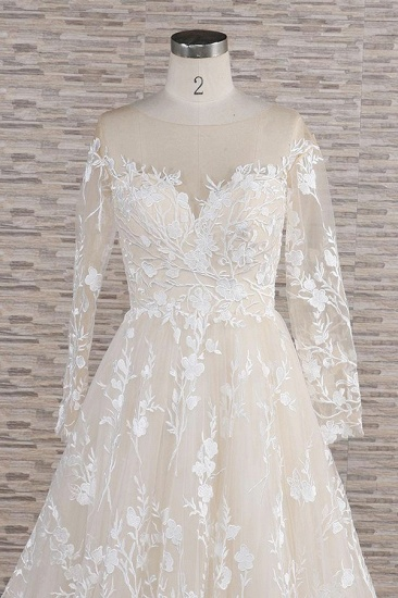 BMbridal Glamorous Jewel Longsleeves Champagne Wedding Dresses A-line Lace Bridal Gowns With Appliques On Sale_5