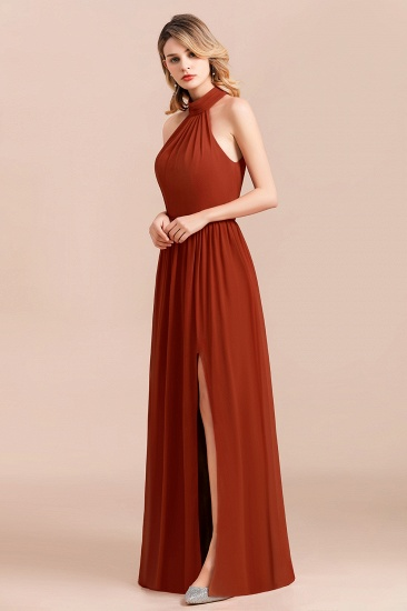 Rust Halter Long Bridesmaid Dresses Online With Front Split_4