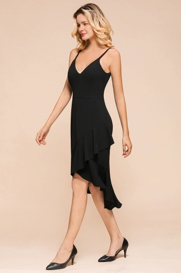 Sexy Black Spaghetti-Strap Short Prom Dress Mermaid Ruffles Homecoming Dress_6