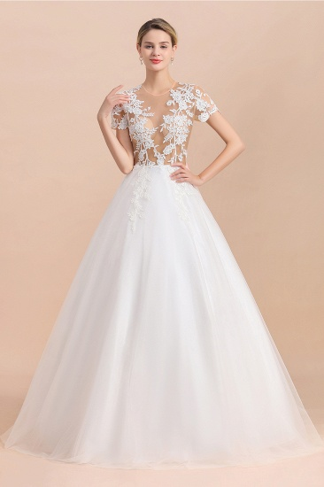 BMbridal Sexy See Through Tulle Appliques Short Sleeves Wedding Dress_5