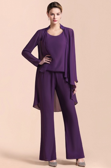 Affordable Straps Beading Grape Chiffon Mother of Bride Jumpsuit Online with Wrap_4