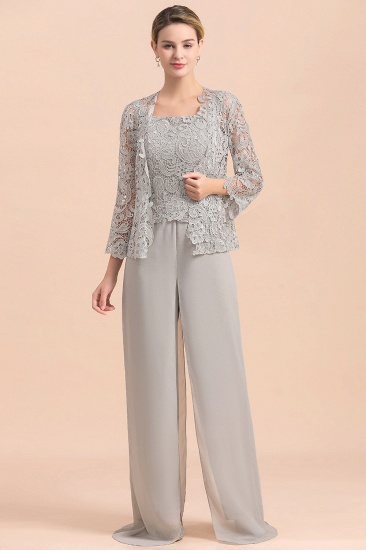 Elegant Silver Lace Top Chiffon Mother of Bride Jumpsuit Online with Wrap
