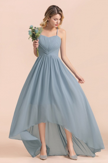 Gorgeous Hi-Lo Heart-Shaped Ruffle Bridesmaid Dress with Spaghetti Straps_7