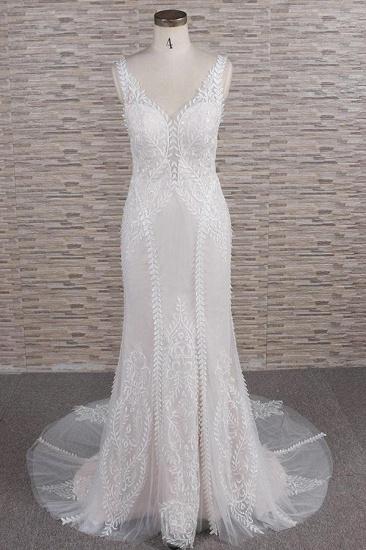 BMbridal Elegant Straps A-line Lace Wedding Dresses White Mermaid V-neck Bridal Gowns On Sale_1