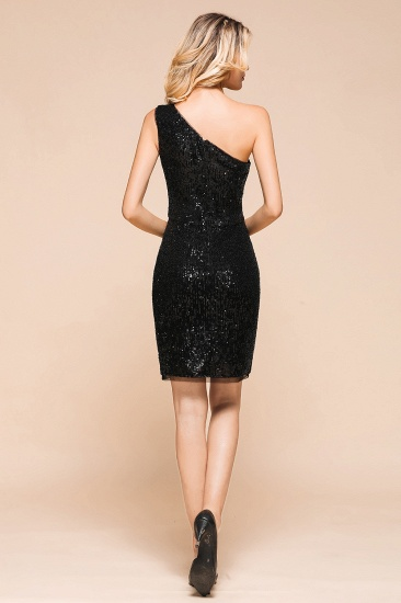BMbridal Sexy Black Sequins Short Prom Dress One Shoulder Homecoming Dress_3