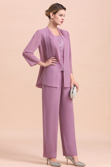 Elegant Cap-Sleeves Lace Chiffon Affordable Mother of Bride Jumpsuit Online with Wrap_5