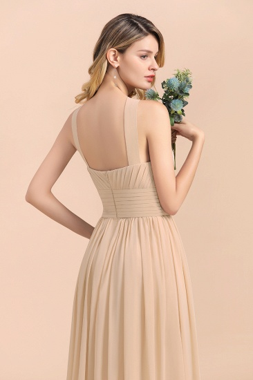 Gorgeous Straps Sleeveless Champagne Chiffon Affordable Bridesmaid Dresses Online with Ruffle_9
