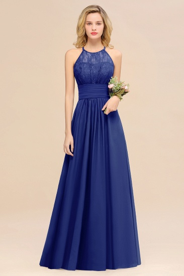 Elegant Halter Ruffles Sleeveless Grape Lace Bridesmaid Dresses Cheap_26