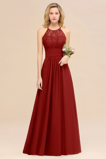 Elegant Halter Ruffles Sleeveless Grape Lace Bridesmaid Dresses Cheap_48