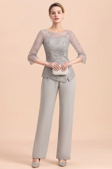 Elegant 3/4 Sleeves Lace Chiffon Affordable Mother of Bride Jumpsuit Online_4