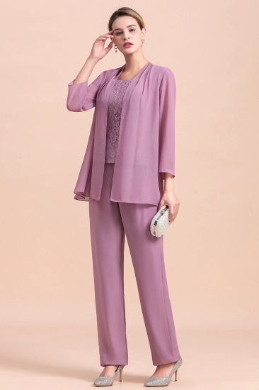 Elegant Cap-Sleeves Lace Chiffon Affordable Mother of Bride Jumpsuit Online with Wrap_8