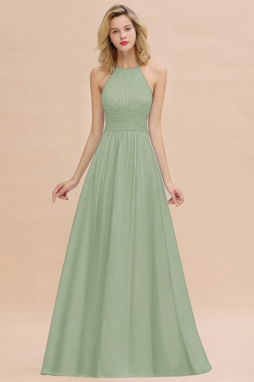 Glamorous Halter Backless Long Affordable Bridesmaid Dresses with Ruffle_41