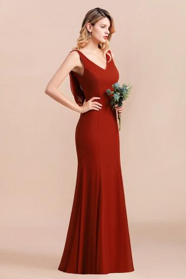 Charming Mermaid V-Neck Drapped Back Bridesmaid Dress Online_8