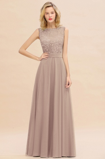 Exquisite Scoop Chiffon Lace Bridesmaid Dresses with V-Back_16