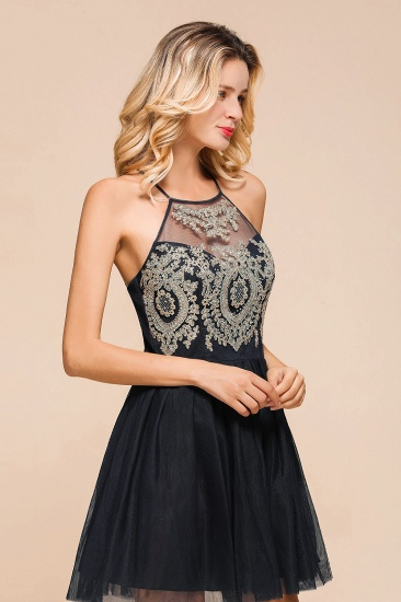 BMbridal Lovely Halter Tulle Short Prom Dress Lace Appliques Homecoming Dress Online_9