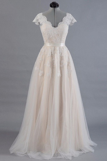Affordable V-neck Shortsleeves A-line Wedding Dresses Champgne Tulle Lace Bridal Gowns On Sale_1