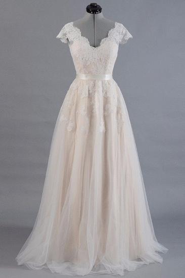 BMbridal Affordable V-neck Shortsleeves A-line Wedding Dresses Champgne Tulle Lace Bridal Gowns On Sale_1