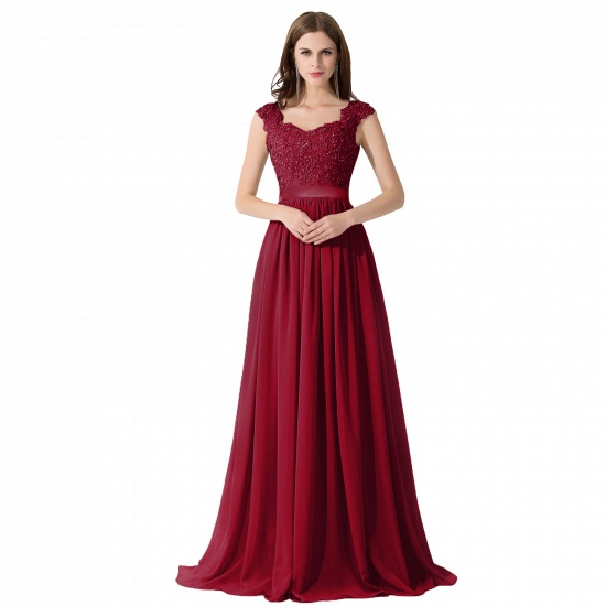 BMbridal A-line V Neck Chiffon Bridesmaid Dress with Appliques_3