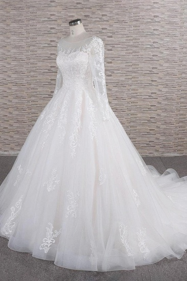 BMbridal Chic Longsleeves Jewel Tulle Wedding Dresses A-line Bridal Gowns With Appliques Online_4