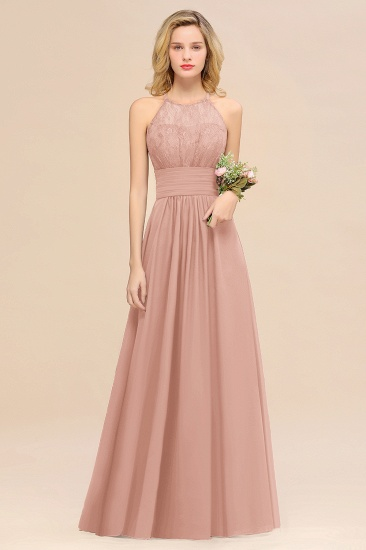 Elegant Halter Ruffles Sleeveless Grape Lace Bridesmaid Dresses Cheap_6
