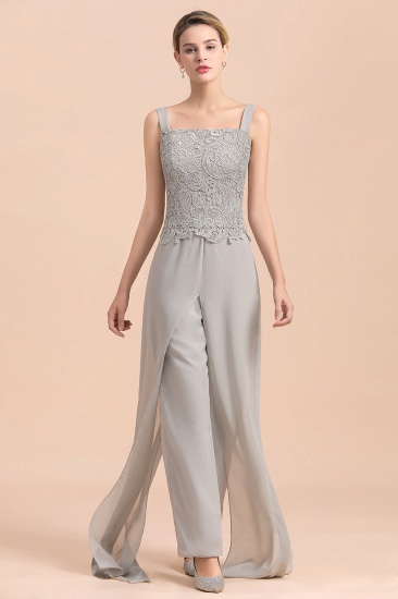 BMbridal Elegant Silver Lace Top Chiffon Mother of Bride Jumpsuit Online with Wrap_10