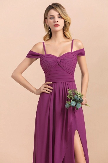 Gorgeous Off-the-Shoulder Ruffle Orchid Bridesmaid Dress Online with Slit_9